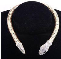 Wholesale 2016 New Design hot sale Fashion Personality Luxury Rhinestone Snake chain necklace choker Statement jewelry for women