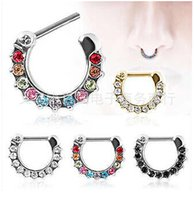 Wholesale New Arrival Septum Clicker Nose Rings CZ Gem Nose Piercing L Stainless Steel Body Jewelry Size mm