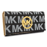 Wholesale 2015 new mk fashion lady wallet PU wallet long section of portable printing bills folder holding the dinner Korean Foreign mk wallet mk1