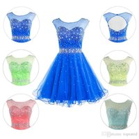 ankle bracelet length - 2015 New Short Prom Dresses Homecoming Graduation Gown With Sheer Scoop Cap Sleeve Crystals Royal Blue Coral Lime Tulle Get Bracelet Free