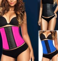 Cheap Wholesale-2015 Women Corset Steel Boned Waist Trainer Rubber Latex Corset Underwear Bustiers Slimming Body Shaper XS-3XL 3505