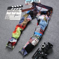 colored buttons - Famous brands designer biker jeans for men Mens Personality Patchwork Spliced Ripped Denim Jeans Male Fashion Colored Patch Straight Pants