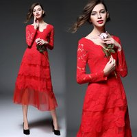 Wholesale 2016 Spring New Women S Clothing Red Lace One piece Dress Long Sleeve Dress Gown V neck Dress Big Pendulum Dresses B