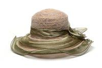 Wholesale Women Kentucky Derby Wedding Church Party Summer Beach Sun Hats Polypropylene Wide Brim Champagne Caps