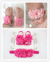 Wholesale 15 sets Trial Order Barefoot Baby Sandals Matching Triple Chiffon Flower Headband