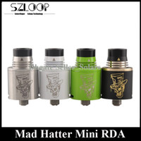 hatter - Latest Mad Hatter Mini RDA Clone Unique Flipping Drip Tip mm Rebuidable Atomizer Copper Contact Post Drop Tank