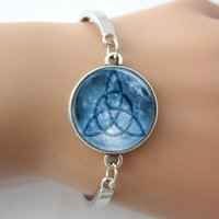 background pictures photos - Bracelet Triquetra with Full Moon Art Picture Blue Background Photo Glass Dome Bangle Triquetra Jewelry New Fashion
