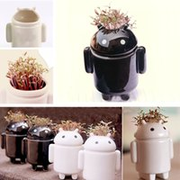Wholesale Black and White Robot Mini Potting Love Grass Planting Home Decoration Small Bonsai for Room Decals