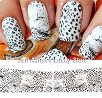 Wholesale 5PCS Water Transfer Nail Art Stickers Decals for nail tips decortaion Leopard Tiger Stripes Design