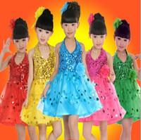 children dance costumes - 2015 Latin Dance Skirt Girl Kindergarten Dance Dresses Modern Performance Clothing Stage Costumes Children Dance Skirt Costume