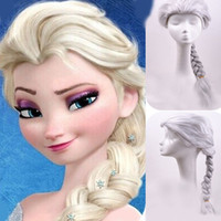 Wholesale 2016 fashion Frozen Snow Queen Wigs Cosplay Light Blonde Elsa Aisha Weaving Braid Wigs for girls made in china
