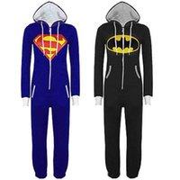 batman onesie - cosplay Hot Sale New Unisex Mens And Womens Onesie Superman Batman Hooded Zip Front Jumpsuit FG1511