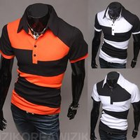 Wholesale New Men s Street Style Fashion Hit Color Design The Wild Short Sleeve POLO Shirt men Short sleeved Foreign Men hight quality