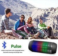 Wholesale Mini Wireless Bluetooth Pulse Speaker Support NFC Colorful LED lights U disck and TF card portable Speaker Colorful Flash Night Light