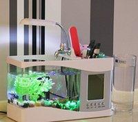 Wholesale Mini Usb Desktop Electronic Aquarium Mini Fish Tank with Water Running LED Pump Light Calendar Alarm Clock