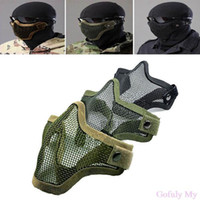 airsoft full metal - Hot Half Lower Face Metal Steel Net Mesh Hunting Tactical Protective Airsoft Mask Gofuly