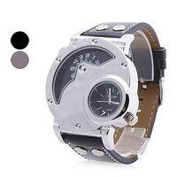 assorted watch batteries - Men s PU Analog Quartz Wrist Watch Time Zone Assorted Colors PUPUG Quartz Wristwatch Men Women Watch