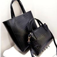 Wholesale 2pieces set New Fashion Ladies Shoulder Bag Leather Satchel Totes Women Large Handbag Black For Women