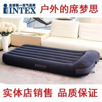 Wholesale Authentic INTEX66770 advanced flocking Queen air mattress built outdoor portable bed pillow air bed
