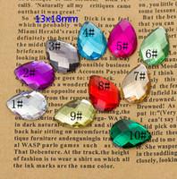 acrylic teardrops - 13x18mm Flat Back Teardrop Acrylic Rhinestones Jewels High Quality Pro Grade Jewelry Findings Jewelry DIY Mixed Color Pieces