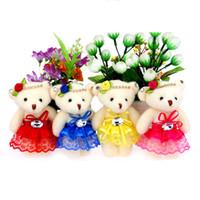beaded baby doll dress - HOT Baby Girls Toy Doll Plush Stuffed Diamonds Lace Beaded Bear Dress Bear For Promotional Gift