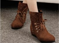 Wholesale 2014 New Fashion Womens Ankle Boots Faux Suede Spike Womens Cowboy Boots Lace Up Casual Comfort Ladies Boots Shoes