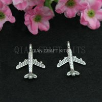 Wholesale set of plane airplane Civil aircraft fighter antique silver zinc alloy charm DIY for Jewelry Making mm AY0318