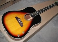 acoustic guitar sunburst - 2015 Hot Sale Factory Customized Folk Acoustic Guitar wtih one Single board on the Body and th Anniversary John Lennon Signiture