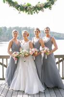 2016 Nuevo Sencillo Beach largo vestido de dama de gasa con cuello en V de las colmenas de cuerpo entero vestidos del partido de novia barato Maid formal de los vestidos de honor