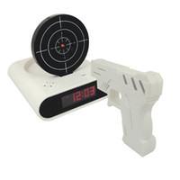 Wholesale Novelty Gun Alarm Clock Gun O clock Shooting Game Cool Gadget Toy Novelty with Laser Target