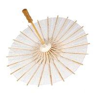Wholesale Wedding Bridal Parasols Paper Sun Umbrellas Sunshade White Dry Solid Kids Art Drawing Handmade Bamboo Handle WS006