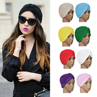 hat band - 20 Colors Stretchy Turban Head Wrap Hats Band Sleep Hat Top Quality Chemo Bandana Hijab Pleated Indian Cap Muslim cap Yoga Cap DHL