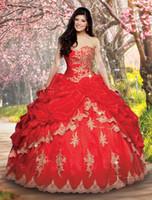 ball chinese - Ball Gown Quinceanera Dresses Sweetheart Ruched Pleat red Chinese New Unique Lovely Open Back Dresses Quinceanera Gowns Evening Gown
