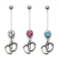 baby bellies - 12pcs Fashion Flexible Navel Piercing Pregnancy Maternity Bar Ring Body belly ring Piercing Baby Feet For Women Gift Jewelry
