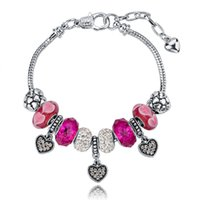 Wholesale Luxury Daisies Murano Glass Crystal European Charm Beads Snake Chain Bracelets For Girls DIY Heart Women Jewelry SBR140702