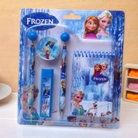 Wholesale HOT QUALITY NEW Frozen Student Pencil Stationery Set Princess Elsa Anna Pencil Ballpen Ruler Eraser Refill Sharpener Notebook