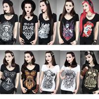 Wholesale Women s Digital Print T Shirt Graphic tees Gothic Punk Club Street Style Short Sleeve T Shirt Women Top For Halloween Fairy Tales Skull