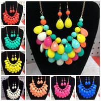 Wholesale New Design High quality Hot Selling New Fashion Bib Bubble Statement Women Necklace And Earring