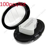 Wholesale 100pcs EMS LED Double Multiple X X Jeweler Eye Loupe Magnifier Magnifying glass w Gift Box