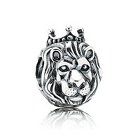 Wholesale Lion King Lion Head Silver Charms Lion Charm Sterling Silver European Beads Fit Pandora Style Chain Lw390