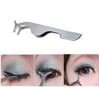 Wholesale False Eyelashes Clip Extension Stainless Steel Eyelash Applicator Tweezers Tool Women Professional Beauty Makeup Cosmetic Tools