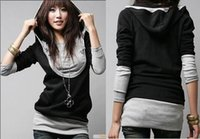 Wholesale Women Large U neck Long sleeved Hooded Sweater Two piece Jacket Stitching Tops Clothes