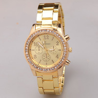 acrylic crystal watch - 2016 Luxurious Watches Faux Chronograph Quartz Plated Classic Round Ladies Women Crystal Watches Geneva Men Watch