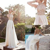 Wholesale 2015 Lace Applique Chiffon Prom Dresses Halter Beaded Crystals Short Side Slit Backless Evening Gowns Summer Beach Wedding Dresses BO5557