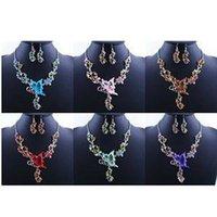 pendant flower rhinestone - 2015 Hot Women Classic Butterfly Flower Rhinestone Pendant Necklace With Earrings Jewelry Set