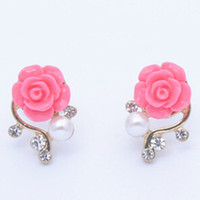 Wholesale 2015 Rushed New Women s Acrylic Resin Lucite Gift Plant Korean Style Rose Flower Gorgeous Crystal Rhinestone Pearl Stud Earrings Colors