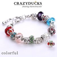 Wholesale DHL Free European Bracelets Crystal and Glass bead charms European bangles colors