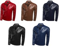Wholesale men s leather motorcycle jacket simple solid color new mens jackets and coats light colored slim fit