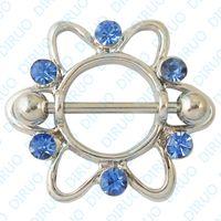 Wholesale Punk pattern with diamond nipple ring body piercing jewelry G New Heart copper punching
