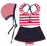 baby sailor dresses - Kids Girls Swimwear Children s Beach Clothing Piece Set Baby Girl Sailor Swimsuit Swim Cap Dress Suits Stripe sets J2562